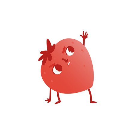 Vector cheerful strawberry character doing stretching exercise. Red fruit full of energy and vitamins practicing yoga. Healthy lifestyle, fitness and sport concept. Illustration