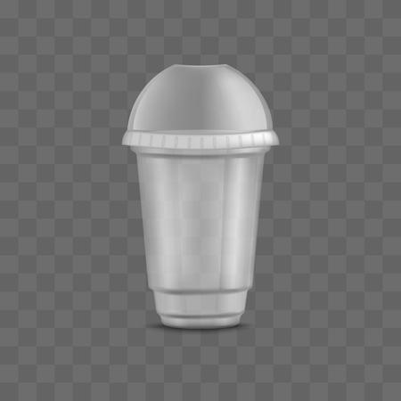 Vaso de plástico transparente desechable transparente vacío con tapa de domo cerrada y tapón. Plantillas de embalaje y maquetas de envases 3d realistas para bebidas y bebidas líquidas, ilustración vectorial.