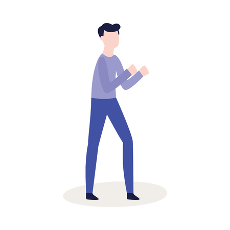 Vector flat male character ready to fight with fists in combat position. Angry man expressing violence and aggression. Pissed off people in conflict situation. Isolated illustration.