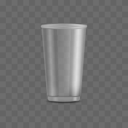 Big empty and blank clear transparent disposable plastic cup. Packing templates and mockups of realistic 3d containers for beverage, vector illustration. Çizim