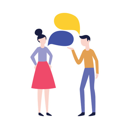 Vector flat man and woman negotiating with empty speech bubble. Male, female office workers, colleagues, friends or relatives arguing, communicating. Quarrel and fight between family couple Illustration