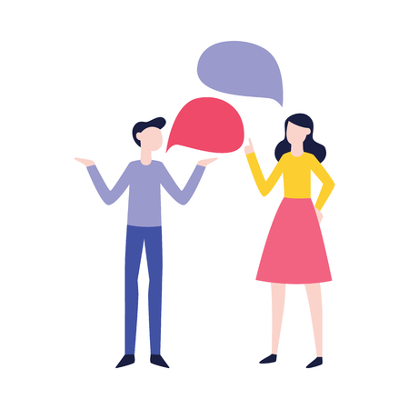 Vector flat man and woman negotiating with empty speech bubble. Male, female office workers, colleagues, friends or relatives arguing, communicating. Quarrel and fight between family couple