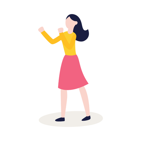 Vector flat female character in skirt ready to fight with fists in combat position. Angry woman expressing violence and aggression. Pissed off people in conflict situation. Isolated illustration. Illustration