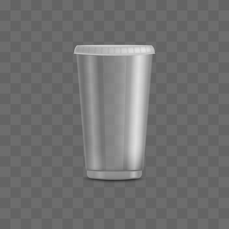Empty clear transparent disposable plastic cup with closed flat lid and cap. Packing templates and mockups of realistic 3d containers for beverage vector illustration for milkshake, tea, juice.