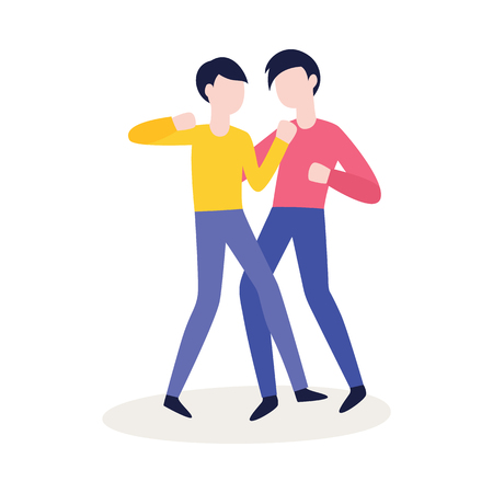 Vector two of male characters fighting punching each other. Angry men expressing violence and aggression. Pissed off people in conflict situation. Isolated illustration. Illustration