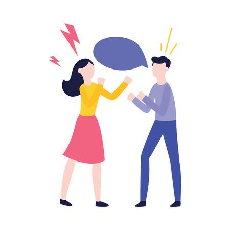 Vector flacher Mann und Frau, die einen Kampf oder Streit mit leerer Sprechblase und Lichtzeichen haben. Männliche weibliche Büroangestellte, Kollegen, Freunde oder Verwandte äußern Wut, Misstrauen, Dinge auszutragen