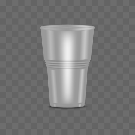 Big blank clear transparent disposable realistic 3d plastic cup with grooved, vector template illustration.