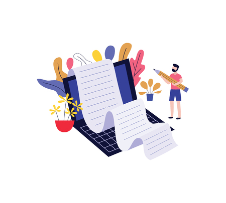 Young man holding big pencil and writing story on laptop for blogging, storytelling or copywriting concept design in flat style. Isolated vector illustration of male character creating content. Ilustração