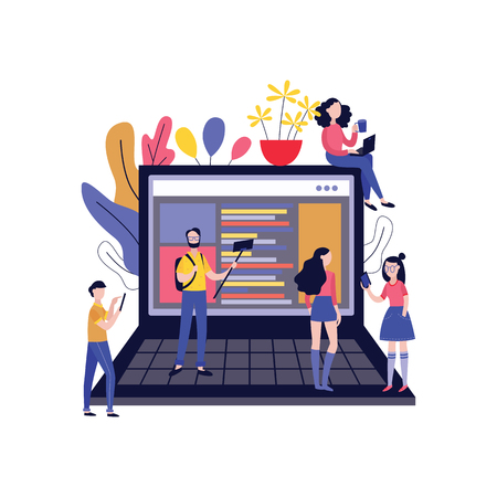 Vector illustration of bloggers creating content and followers reading and watching posts in blog around big laptop with website on screen in trendy flat style isolated on white background. Ilustração Vetorial
