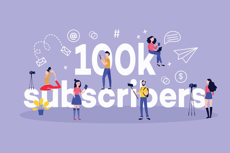 100k subscribers horizontal banner with various bloggers creating content and followers reading and watching posts around big sign in flat style isolated on violet background.