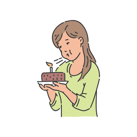 Vector young girl blowing candle. Cute female character holding birthday chocolate cake with candle. Beautiful young woman in green skirt at party with sweet dessert.