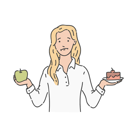 Vector puzzled blonde woman in skirt holding green apple one hand and piece of cake in another. Healthy vegetable and excessive calories in sweet dessert. Young girl makes choise in dieting