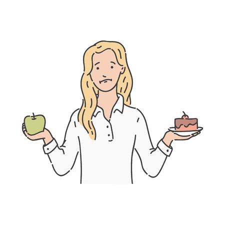 Vector verwirrte blonde Frau im Rock, der einen grünen Apfel und ein Stück Kuchen in der anderen hält. Gesundes Gemüse und übermäßige Kalorien in süßen Desserts. Junges Mädchen trifft die Wahl bei einer Diät