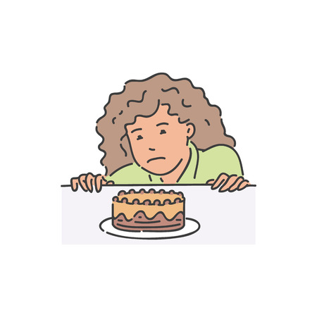 Vector young woman desperate to eat piece of cake. Female character really want to taste it but refuses. Calories food and dieting concept. Isolated illustration