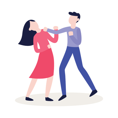Vector flat male character punching woman in face. Angry women, men expressing violence and aggression. Pissed off people in conflict situation. Isolated illustration.