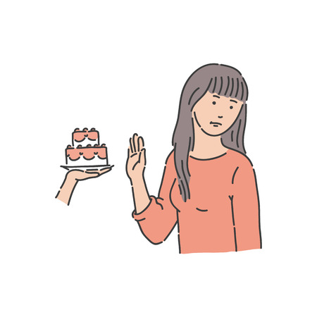 Vector young woman refuses eating piece of cake with stop hand gesture. Female character says no to sweets. Dieting and healthy lifestyle of young girl.