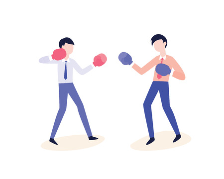 Vector office workers fighting in boxing gloves. Confrontation and disagreement at work. Severe business competition, team quarrel or conflict concept. Men in corporate suits punching each other