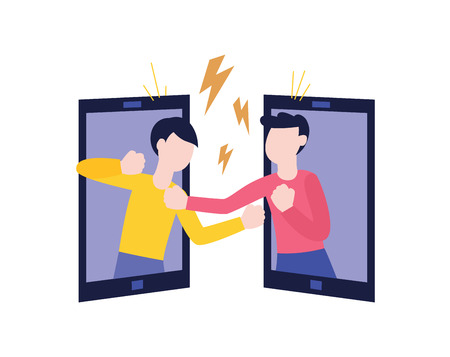 Vector two of male characters fighting punching each other from tablet screenes. Angry men expressing violence and aggression via internet. Pissed off people in conflict situation illustration. 일러스트