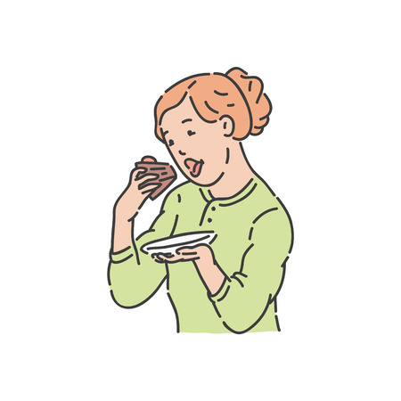 Vector redhead woman eating piece of cake by hands. Cheerful female character eats sweet dessert cupcake for birthday. Obesity and overweight concept. Dieting and lifestyle of young girl. Illustration