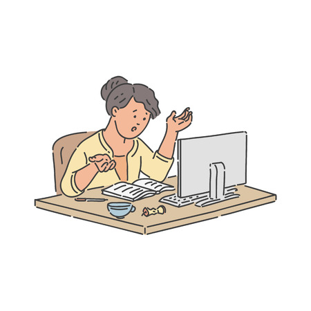 Stressed school student girl sitting at table with notebook and monitor of computer and studying online - hand drawn isolated vector illustration of schoolgirl throwing up her hands while learning.
