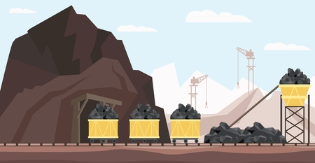 Coal mine industry and transportation vector illustration with piles of black mineral resource in minecarts - charcoal mining buildings, equipment and transport in flat style.