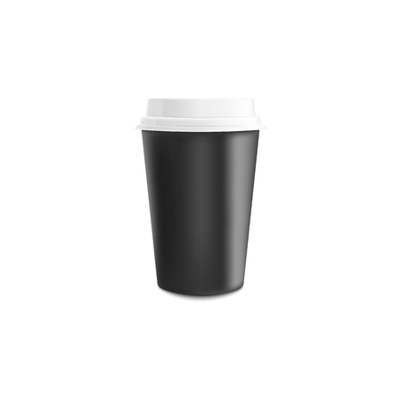 Black and white coffee paper or plastic cup mockup in realistic vector illustration - empty mug with lid for cafe or shop brand identity design or promotion isolated on white background.