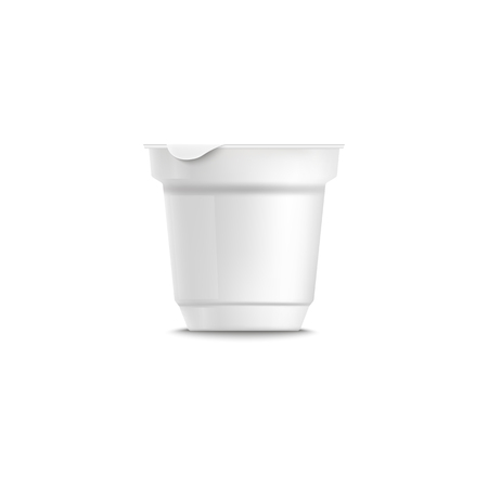 Yogurt plastic packing template with grooved. Empty clear white plastic triangular yogurt 3d realistic container. Isolated vector illustration of blank container on a white background. Foto de archivo - 118612095