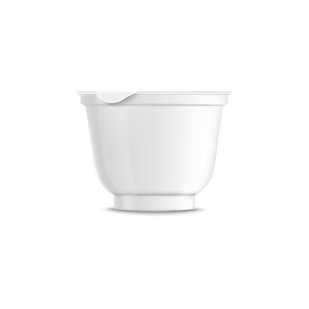 Blank rounded white plastic yogurt container template and mockup with closed lid and cap. Realistic 3d container for yogurt, isolated vector illustration.