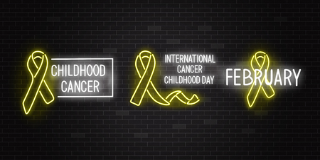 Vector illustration set of childhood cancer international day and disease awareness symbol with signs in realistic style - glowing neon yellow ribbon with text on dark night brick wall background.