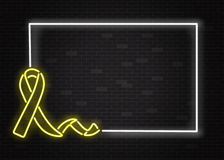 Childhood cancer awareness symbol in realistic style - horizontal banner with glowing neon yellow ribbon on dark night brick wall background with frame and copy space in vector illustration.
