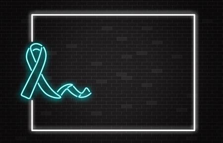 Bandera del mes nacional de la salud de la próstata con el símbolo del cáncer de próstata - cinta de neón azul claro sobre fondo de pared oscura con espacio de copia. Emblema de la ilustración del vector de la conciencia de la enfermedad de los hombres y de la lucha.