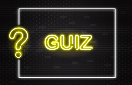 Quiz banner with yellow neon text and question mark in realistic style on dark brick wall background with white frame - vector illustration of trivia night or contest announcement banner.