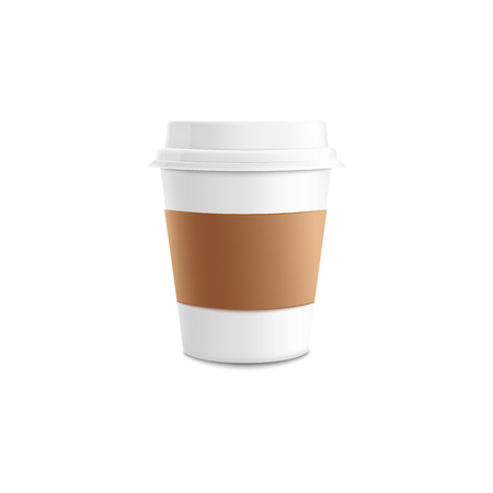Realistic 3d mockup of coffee cup in isolated vector illustration - blank white paper or plastic takeaway mug of hot drink to go with brown sleeve for cafe or restaurant brand identity design.