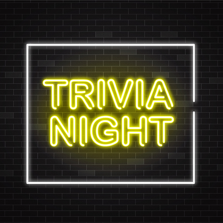 Trivia night yellow neon sign in white frame on dark brick wall background - vector illustration of illuminated pub quiz or contest announcement banner in realistic style.