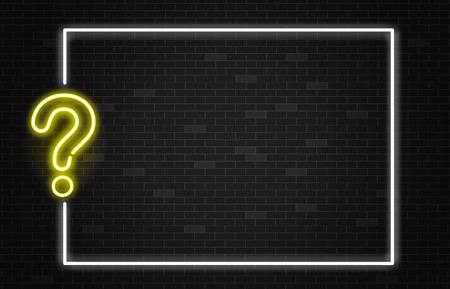 Banner di quiz con punto interrogativo al neon giallo in stile realistico su sfondo di muro di mattoni scuri con cornice bianca e spazio di copia - illustrazione vettoriale di trivia night o poster di annuncio del concorso. Vettoriali