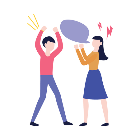 Vector flat man and woman having a fight or quarrel with empty speech bubble and lighting signs. Male female office workers, colleagues, friends or relatives express anger, mistrust hashing things out