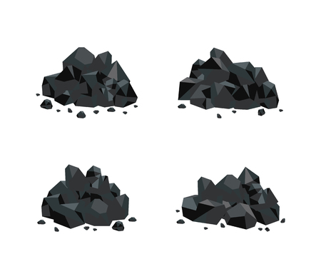 Vector illustration set of various piles of black coal isolated on white background. Collection of mineral resources - bunch of cut rock graphite charcoal in flat style.