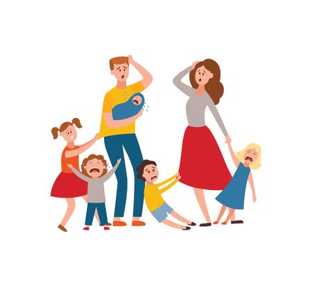 Vektorelternschaftsprobleme des großen Familienkonzepts. Müder, erschöpfter Vater und Mutter mit unartigen und bösen Kindern. Mama und Papa versuchen, mit weinenden Söhnen, Töchtern und Neugeborenen umzugehen. Erziehung Vektorgrafik