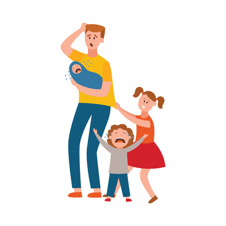Vector parenthood problems of big family concept. Tired, exhausted father holding painful head with naughty and nasty children crying. Dad trying to handle crying son, daughter and newborn baby.
