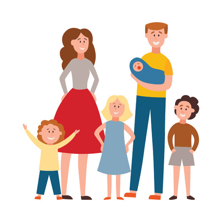 Vector happy full family standing together. Smiling parents and children. Father holding newborn baby, brothers and sisters have fun, man, woman hugging girls and boys.