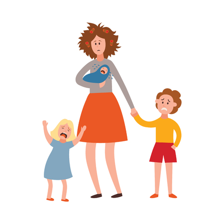 Vector parenthood problems of big family concept. Tired, exhausted mother with disheveled hair with naughty and nasty children crying. Mom trying to handle crying son, daughter and newborn baby. Illustration