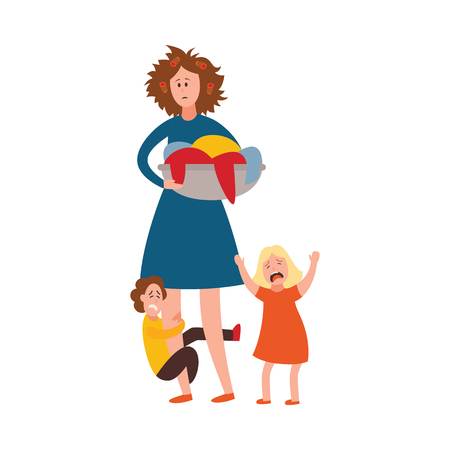 Vector parenthood problems of big family concept. Tired, exhausted mother with disheveled hair with naughty and nasty children crying. Mom holding dirty laundry trying to handle crying son, daughter Illustration