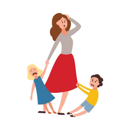 Vektorelternschaftsprobleme des großen Familienkonzepts. Müde, erschöpfte Mutter, die einen schmerzhaften Kopf mit frechen und bösen Kindern hält, die weinen. Mama versucht mit weinenden Sohn- und Tochterkindern umzugehen Vektorgrafik