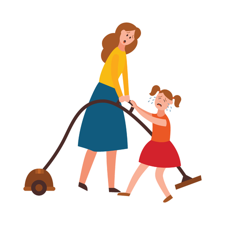 Vector parenthood problems of big family. Tired, exhausted mother with naughty and nasty children crying trying to handle kids and household chores. Mom cleaning carpet with vacuum cleaner Illustration