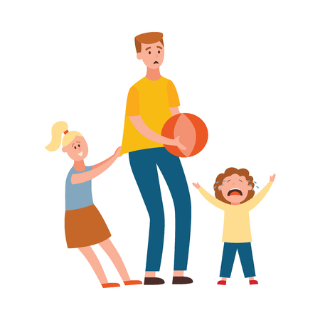 Vector parenthood problems of big family concept. Tired, exhausted father trying play ball with naughty and nasty children crying. Dad trying to handle crying son and playful daughter
