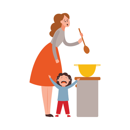 Vector parenthood problems of big family. Tired, exhausted mother with naughty and nasty children crying trying to handle kids and household chores. Mom cooking while son cries Иллюстрация