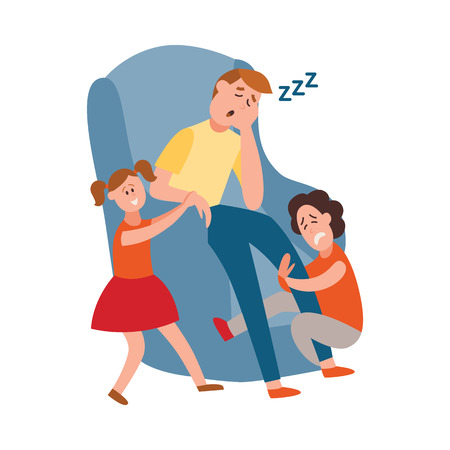 Vector parenthood problems of big family concept. Tired, exhausted father trying to sleep with naughty and nasty children crying. Dad trying to handle crying son and playful daughter Banque d'images - 124654903