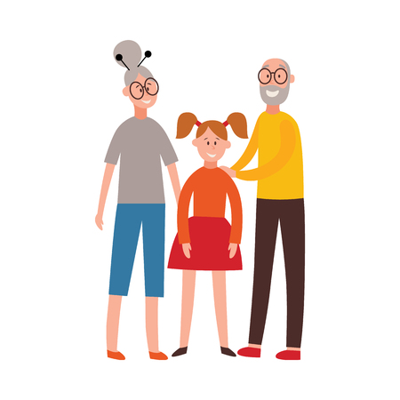 Vector happy grandparents standing together hugging granddaughter. Senior couple with young girl. Smiling family male, female characters. Isolated illustration Иллюстрация