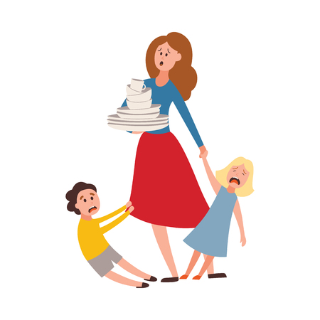 Vector parenthood problems of big family. Tired, exhausted mother with naughty and nasty children crying trying to handle kids and household chores. Mom holding dishes while son, daughter cries