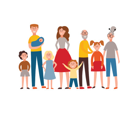 Vector happy extended family standing together. Smiling parents, grandparents and children. Father holding newborn baby, brothers and sisters have fun, senior man, woman hugging girl.